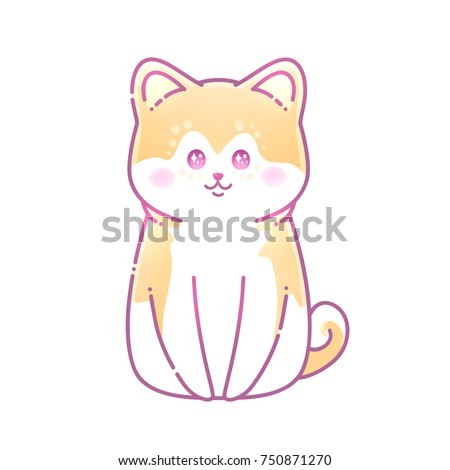 Vector Illustration Of A Hussy Dog With Big Anime Eyes