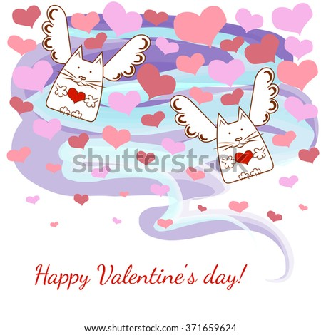 Greeting card happy Valentine's Day with angels,cats and hearts.Vector illustration on the theme of love - stock vector