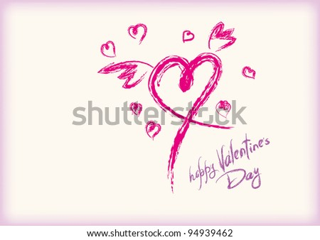 Greeting Card Happy Valentine's handwriting style - stock vector