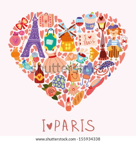 Greeting card-I love Paris. With many vector cute elements Stylish design element in bright colors - stock vector