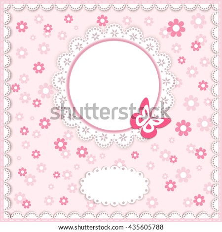 greeting card in pastel color with flowers, butterfly, lace doily, place for your text on pink background, vector illustration - stock vector