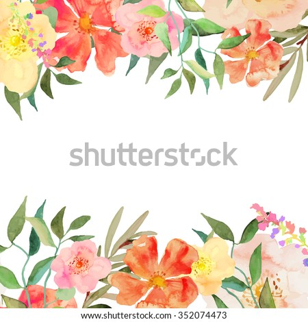 Greeting card invitation banner frame your stock vector 352074473 greeting card invitation banner frame for your text with floral watercolor background stopboris Image collections
