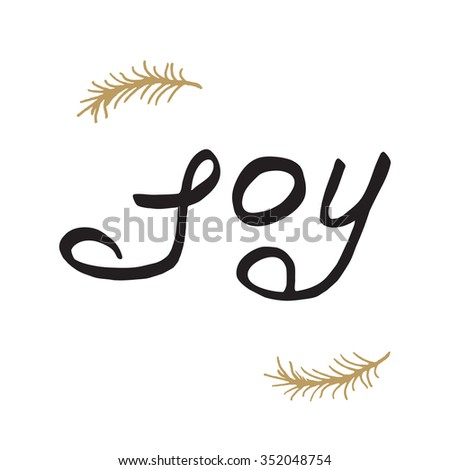 Greeting card - joy. Merry Christmas background with typography, lettering. - stock vector