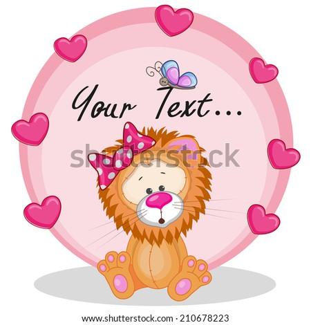 Greeting card Lion girl with hearts