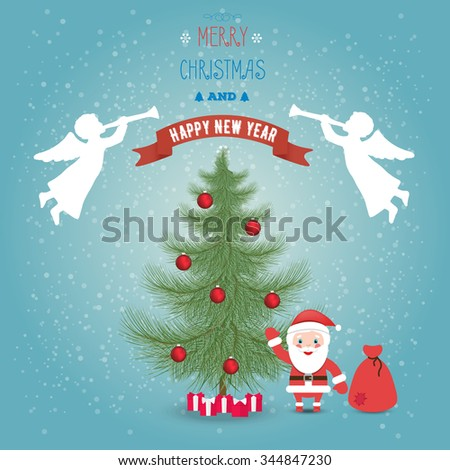 Greeting card Merry Christmas and happy new year with Santa claus and bag with gifts. Christmas tree in the snow and angels. Flat style. - stock vector