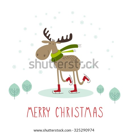 Moose cartoon stock images royalty free images vectors for Cute creative christmas cards