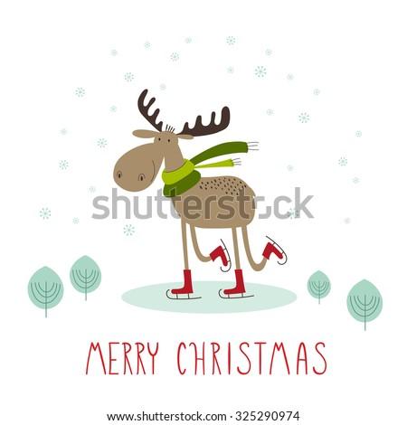 Greeting card: Merry Christmas. Creative hand drawn card with cute skating moose. Vector cartoon illustration. - stock vector