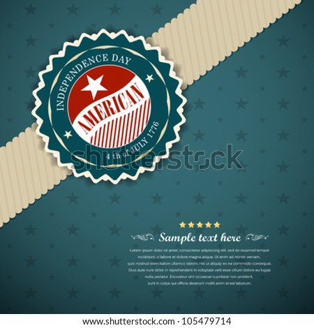 Greeting card modern design for Independence day, Vector illustration - stock vector