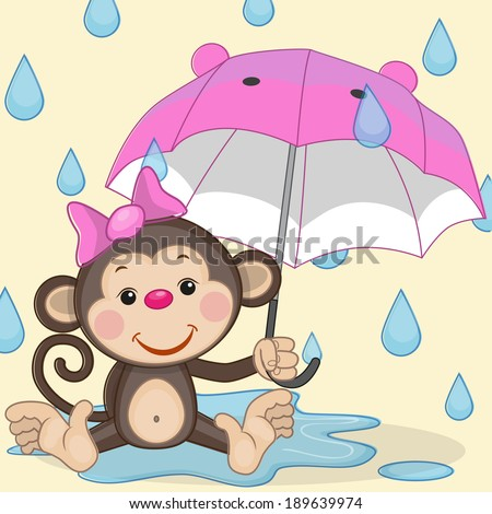 Greeting card Monkey and umbrella - stock vector