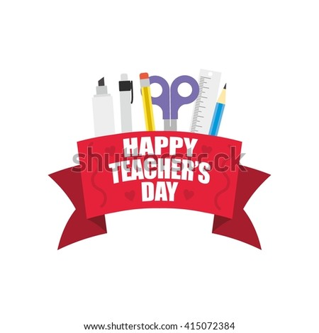 Greeting card of a stylish text for Happy Teacher's Day. Vector illustration.