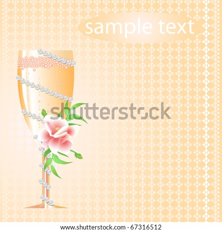 Greeting card of wedding glass of champagne with flower
