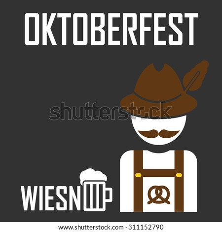 greeting card Oktoberfest design - the icon with the man in the Bavarian hat - German with a mustache