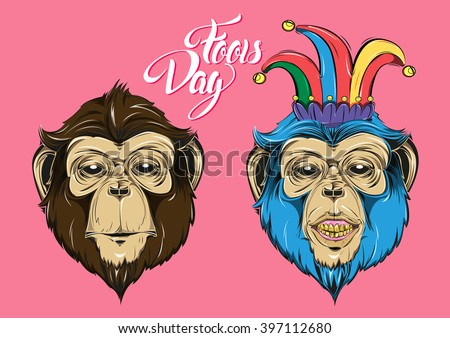 Greeting card on the day of the fool. Fun and funny cards. April Fools Day. vector illustration - stock vector