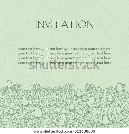 greeting card or invitation. rose and leaves lace ornament. wedding invitation card. vector border and place for your text. floral abstract decor. vector illustration. red gold and violet colors - stock vector