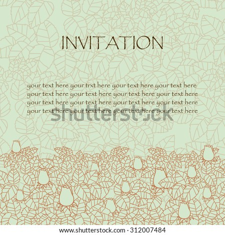 greeting card or invitation. rose and leaves lace ornament. wedding invitation card. vector border and place for your text. hand drawn ornament . vector illustration. red and light green colors - stock vector