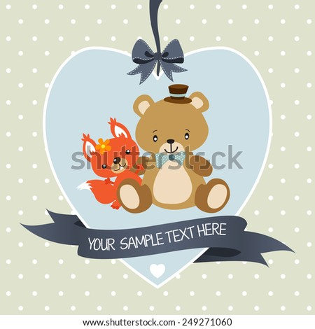 Greeting card or invitation with teddy bear and squirrel - stock vector