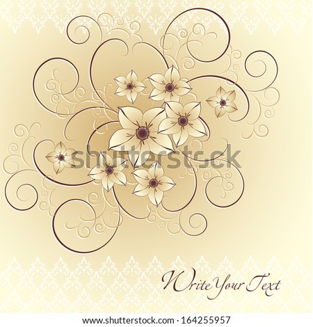 Greeting card or invitation with vintage background. Vector greeting card. Wedding card .