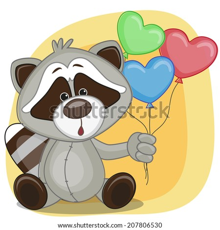 Greeting card Raccoon with balloons