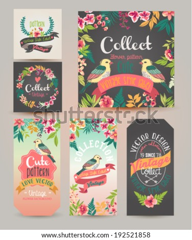 greeting card?romantic labels with flower - stock vector