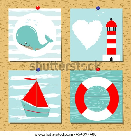 Greeting card set cute retro sea objects collection. Vector  flat illustration. Summer cards collection, posters, banners, print. Blue, red, white colors. - stock vector