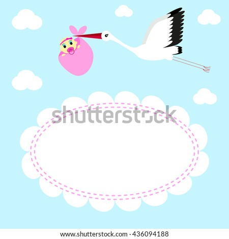 Greeting card Stork delivers baby girl on a background of clouds and sky  - stock vector