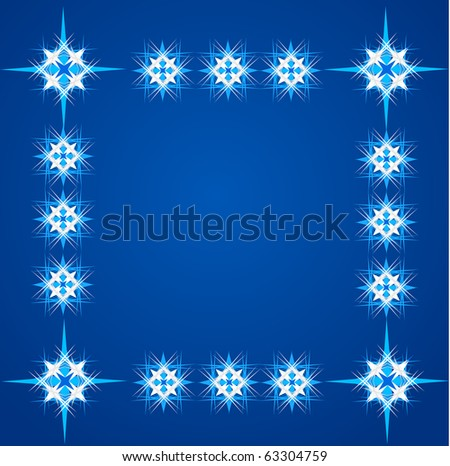 greeting card template design with stars and snowflakes - stock vector