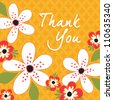 Greeting Card template in yellow and white. Great for Thank You or Thanksgiving cards, social media, web banner.  - stock vector