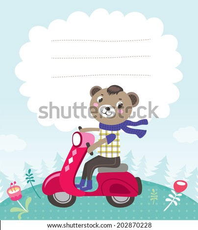Greeting card template with a cute little bear - stock vector