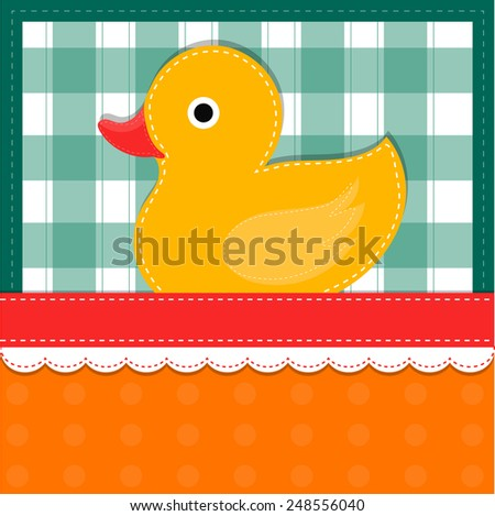Greeting card template with duckling - stock vector