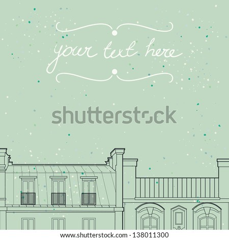Greeting card template with Paris roof silhouettes and place for the text. Vector illustration. - stock vector