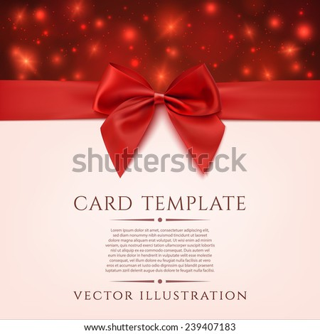 Greeting card template with red bow, ribbon and two hearts. Invitation. Vector illustration