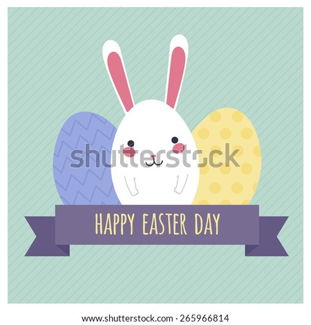 Greeting card template with white Easter rabbit and eggs. Funny bunny. Easter Bunny - stock vector