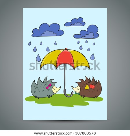 Greeting card two cute Hedgehogs with umbrella. Doodle vector illustration - stock vector