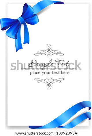 Greeting card with a blue ribbon. Vector image - stock vector