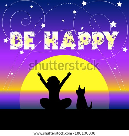Greeting card with a child and dog sitting on a beach on a sunset - stock vector