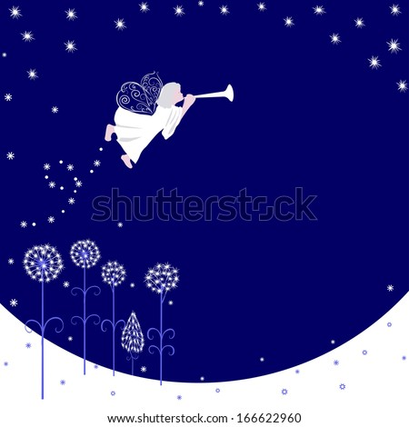 Greeting card with a Christmas angel, where you can put your text - stock vector