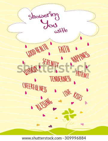 Greeting card with a cloud and raining words, hearts and raindrops, yellow background, Vector illustration - stock vector
