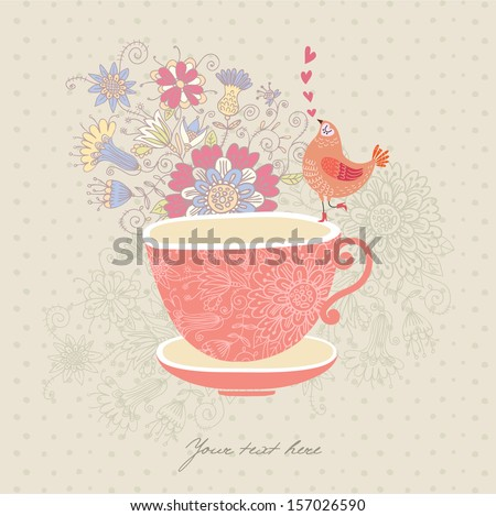 Greeting card with a cup,flowers and a bird - stock vector