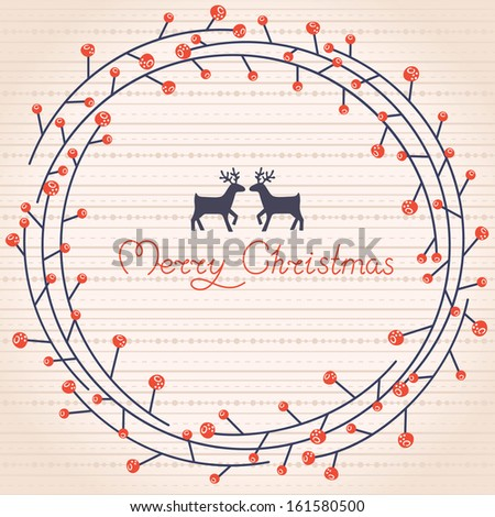 Greeting card with a festive wreath. Vector illustration - stock vector