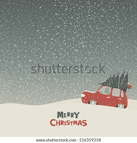Greeting card with a man carries home a Christmas tree on car roof in a snowy day - stock vector