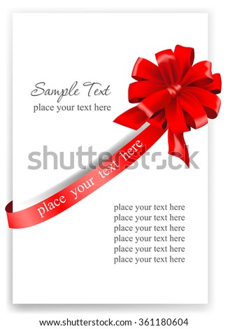 Greeting card with a red ribbon. Vector illustration.  - stock vector