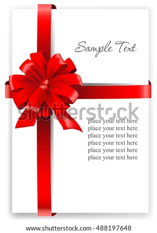 Greeting card with a red ribbon. Vector illustration.