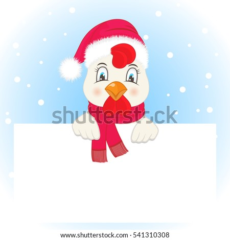Greeting card with a rooster in a Santa Claus hat and scarf