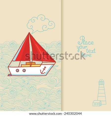 Greeting card with a sailing ship in doodle style - stock vector