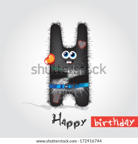 greeting card with a toy hare - stock vector