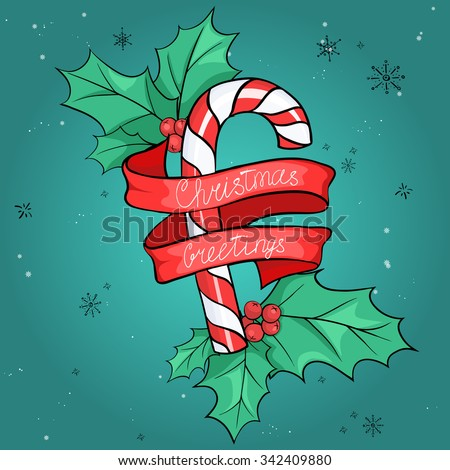 Greeting card with a vector image of candy canes and red ribbon