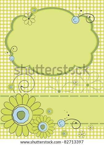 Greeting card with abstract flower pattern