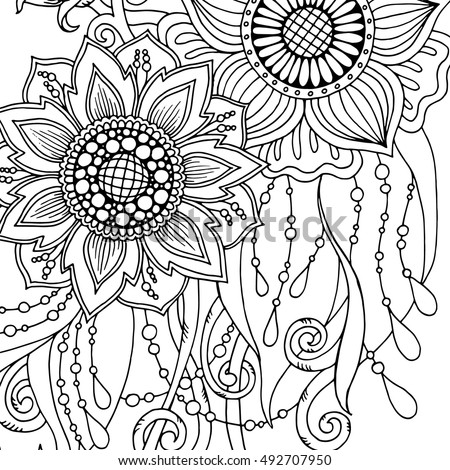 abstract flower coloring pages - doodle seamless background vector doodles flowers stock