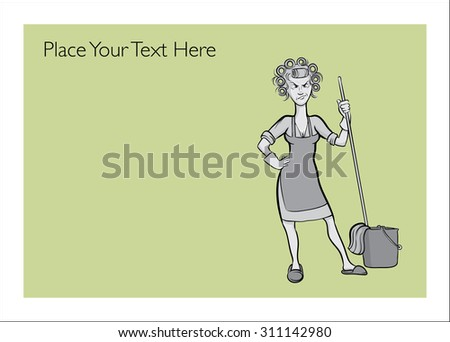 Greeting card with angry housewife - personalize your card with a custom text - stock vector