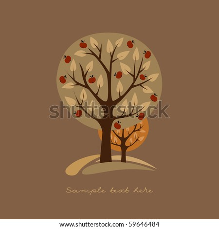 Greeting card with apple-trees - stock vector